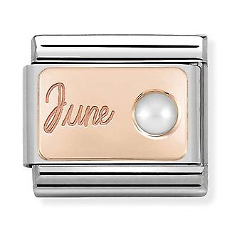 Nomination Classic June Birthstone Steel, White Pearl and 9k Rose Gold Link Charm 430508/06