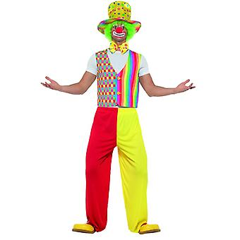 Big Top Clown Kit Multicolore con Vest Bow Tie e Hat Carnival Circus Unisex