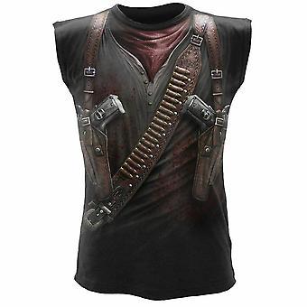 Spiraal-holster wrap-wrap rond mouwloos t-shirt.