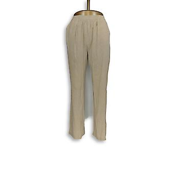 Mujeres's Pantalones Novelty Crinkle Pull-On Straight Beige A266466