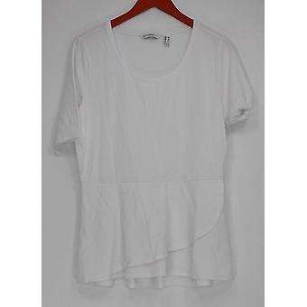 Isaac Mizrahi Live! Womens Top Elbow Sleeve Peplum Flounce White A303962 #3