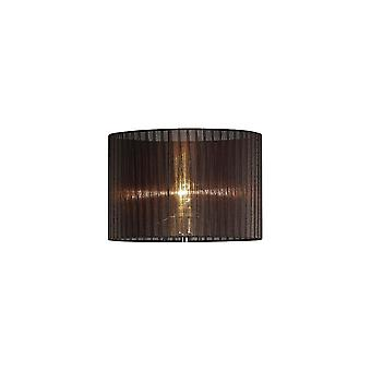 Diyas Florence Round Organza Shade Black 380mm X 260mm, Suitable For Floor Lamp