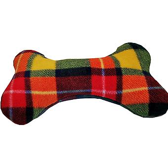 Fleecy Dog Bone Squeaky Toy Cushions Multicolour Check by Dogcrafts