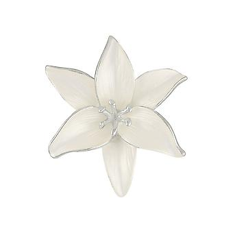 Eternal Collection Lily White Enamel Silver Tone Flower Brooch