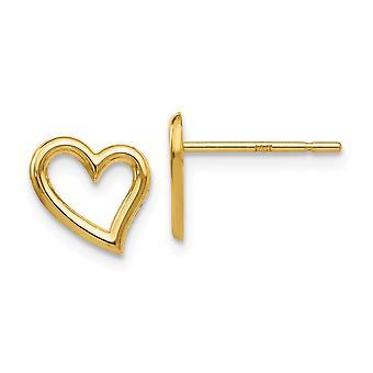 14 k gul guld poleret åbent hjerte Post øreringe