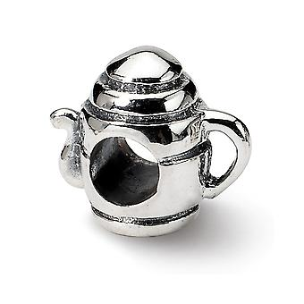 925 Sterling Silver Polished Reflections SimStars Teapot Bead Charm Pendant Necklace Jewelry Gifts for Women
