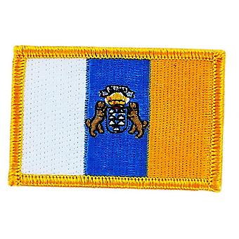 Patch Ecusson Brode Canary Flag Canarias Thermocollant Insigne Blason