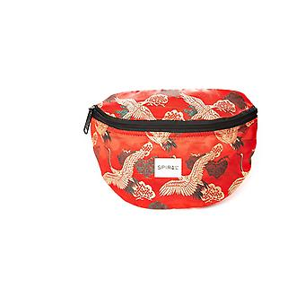 Spiral Paradise Birds Bum Bag in Red