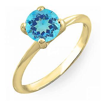 Dazzlingrock collectie 18K 7mm ronde gesneden Blue Topaz Solitaire bruids Verlovings ring, geel goud
