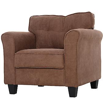 HOMCOM Cotton And Polyester Fabric Solid Wood Single Sofa Chair Home Living Room Brown
