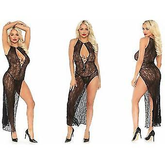 Leg Avenue [UK 8-14] lingerie Black Lace lange gleuf Swirl jurk met G-String