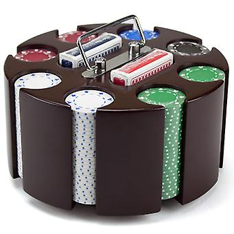 11.5 Gram Suited Poker Chip Set in Wooden Carousel Case