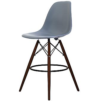 Charles Eames Style Steel Blue Plastic Bar Stool - Walnut Legs