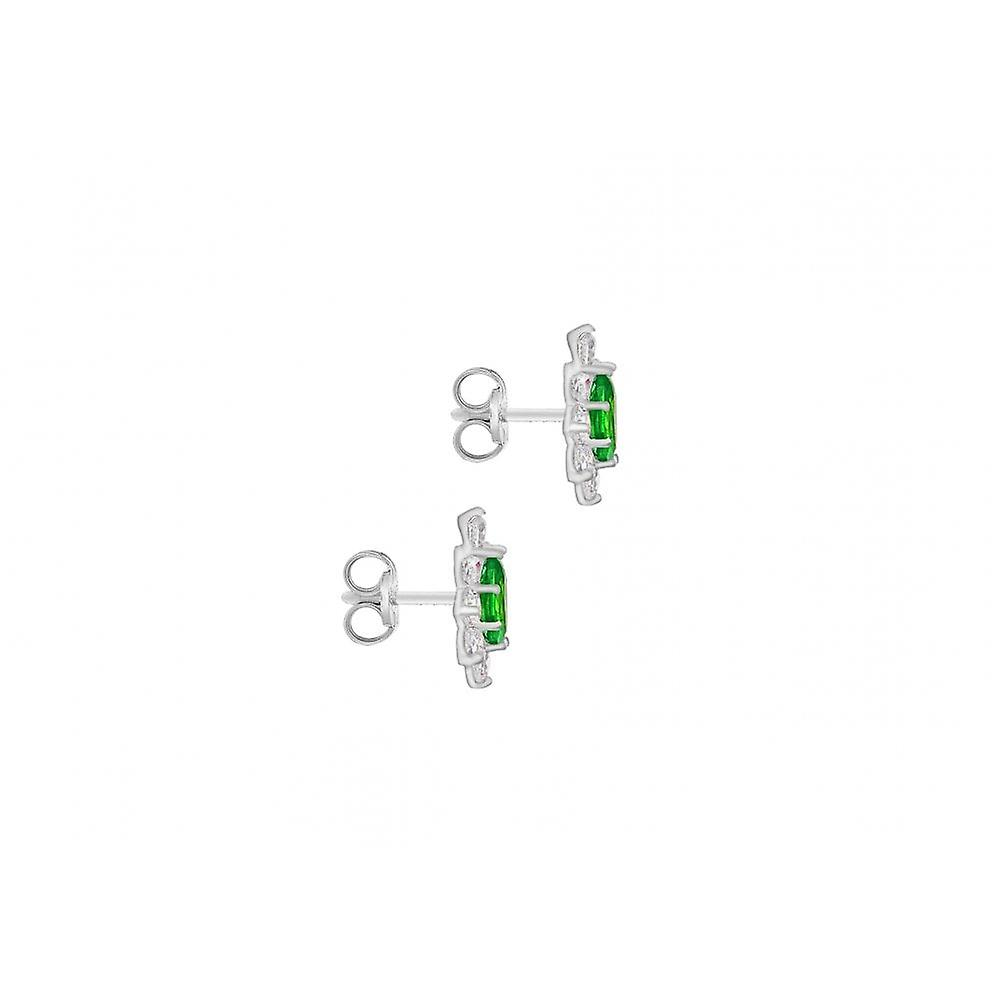 Eternity 9ct White Gold Green And White Cubic Zirconia Oval Small Cluster Stud Earrings