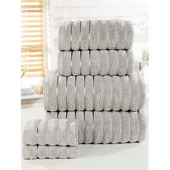 Geribbeld 6 delige handdoek Bale zilver