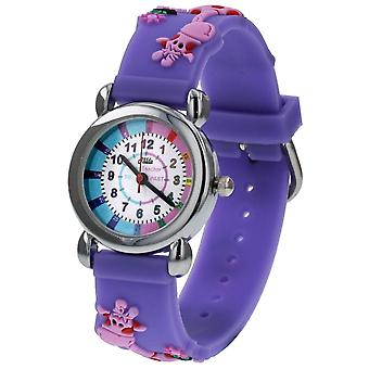 Relda Girl's-Children Time Teacher 3D Giraffe Silicone Strap Watch + Telling The Time Award