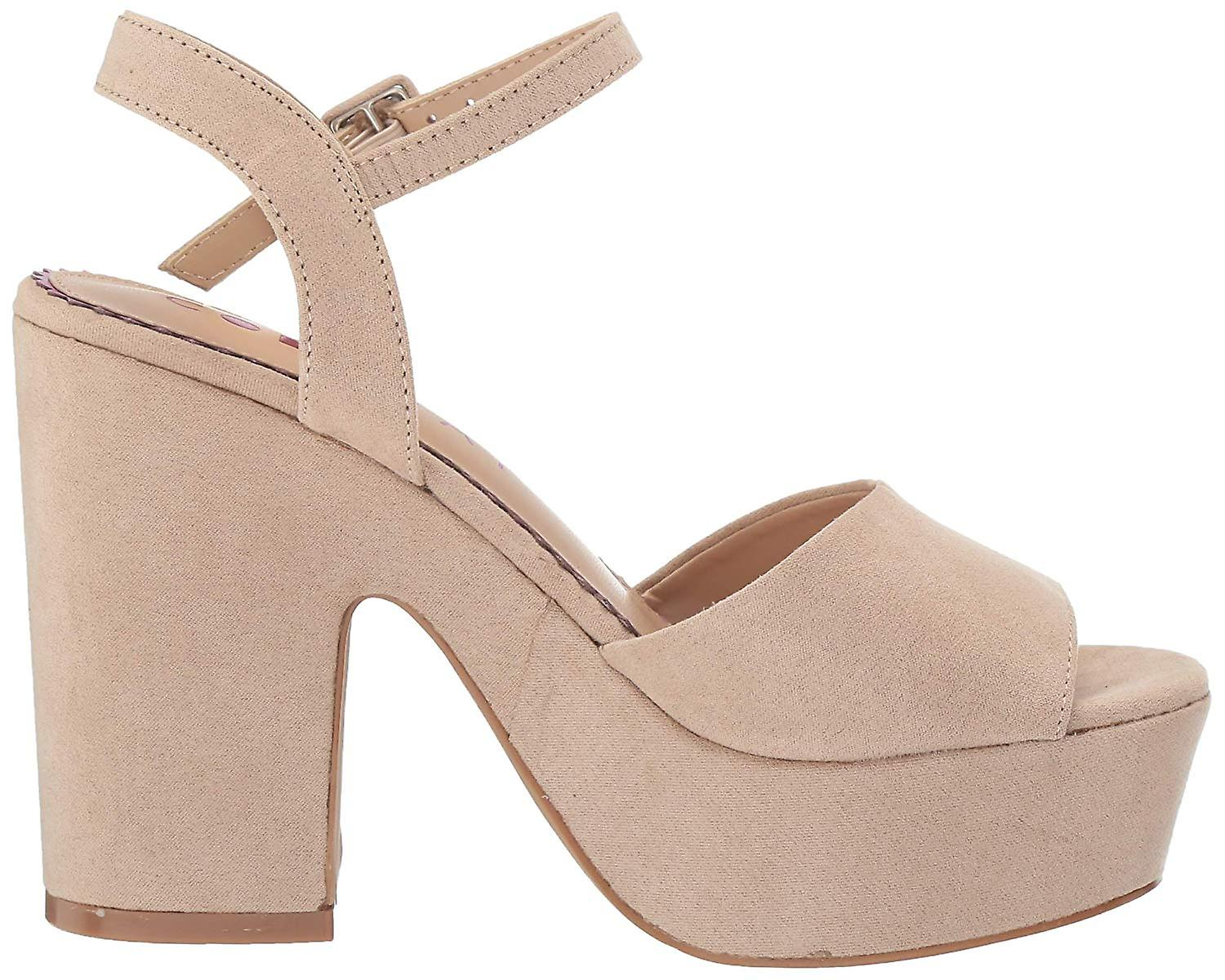Coolway Womens Crys Suede Peep Toe Casual Ankle Strap Sandals