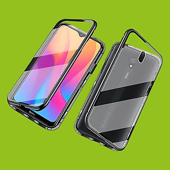 Double Sided 360 Degree Magnet / Glass Case Case Phone Case Bumper Black for Xiaomi Redmi 8A