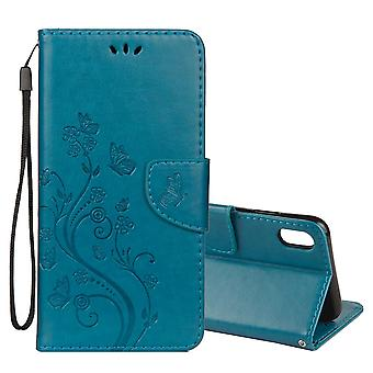 For iPhone XS MAX Case,Embossed Butterfly Flip Leather Wallet Stand Cover,Blue