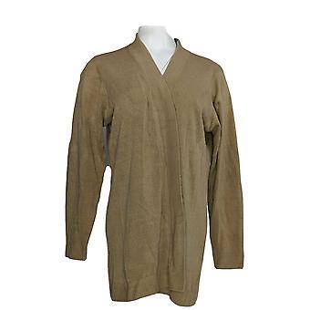 Karen Scott Women's Plus Sweater Long Sleeve Open Cardigan Brown