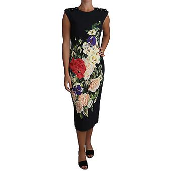 Floral Print Viscose Midi Gown Buttons Dress