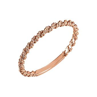14k Rose Gold 2mm Polished Twisted Rope Band Ring Size 6.5 Jewelry Gifts for Women - 1.1 Grams