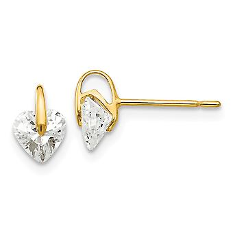 14k Yellow Gold Madi K CZ Cubic Zirconia Simulated Diamond for boys or girls Love Heart Post Earrings