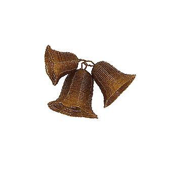 Light & Living Ornament Hang Set Of 3 12x15cm Bell Beads Brown