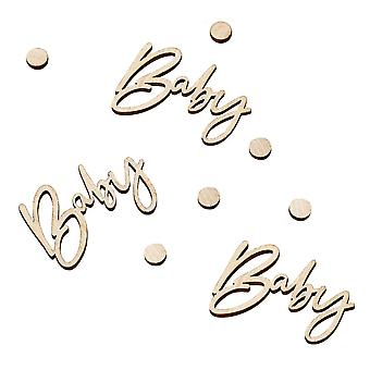 Wooden BABY Shower Table Confetti - Botanical New Baby Party