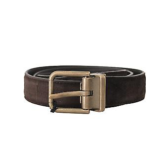 Dolce & Gabbana Brown Suede Leather Gold Buckle Herenriem