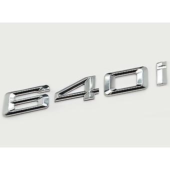 Silver Chrome BMW 640i Car Model Rear Boot Number Letter Sticker Decal Badge Emblem For 6 Series E63. E64 F06 F12 F13 G32