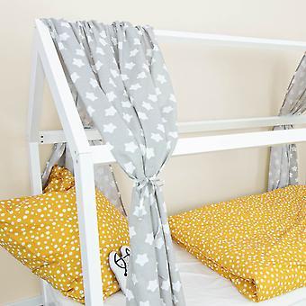 House bed curtain Finja, star grey, 146 x 298 cm
