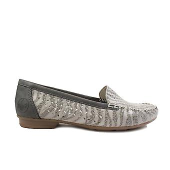 Rieker Peggy 40086-42 Grey Zebra Print/Navy Leather Womens Slip On Shoes