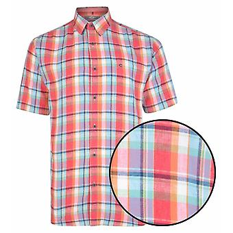 PETER GRIBBY Peter Gribby Linen Mix Check Short Sleeve Shirt