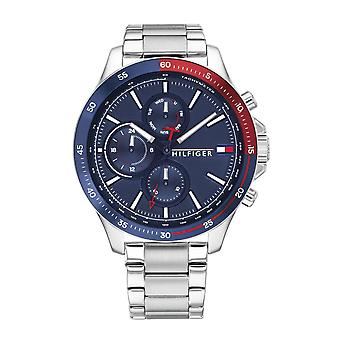 Tommy Hilfiger Watches 1791718 Men's Bank Silver Stainless Steel And Blue Watch