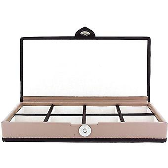 Mele Unisex Beige & Brown Trim 8 Compartment Bonded Leather Jewellery Case