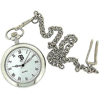 Boxx Silver Tone Open Roman Dial Pocket Watch 12 Inch Chain Boxx25