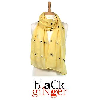 Black Ginger Yellow Scarf with Gold Star Pearls and Tassels (734-526)