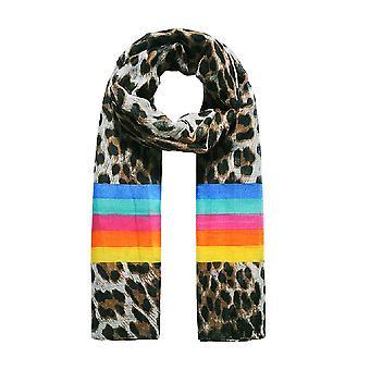Jewelcity Womens/Ladies Leopard Rainbow Print Scarf