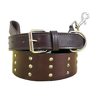 Bradley crompton genuine leather matching pair dog collar and lead set bcdc21brown