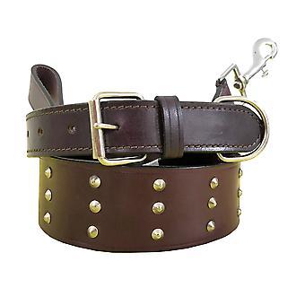 Bradley crompton véritable cuir correspondant collier de chien paire et ensemble de plomb bcdc21brown