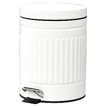 HOMCOM 5L Compact Bin Steel Body Removable Bucket Quiet-Close Lid w/ Pedal Handle Lid Rubbish Trash Can Home Office Bedroom Bathroom Living Room Garbage Tidy Clean White