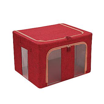 Cotton and linen double vertical window folding steel frame quilt storage box 50x40x33cm