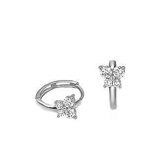 Earrings Skinny Hoops Fairy 18K Gold and Diamonds - White Gold
