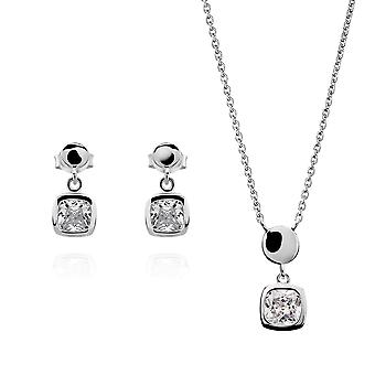 Orphelia Silver 925 Pendant and chain 45cm -Earring Square with Zirconium