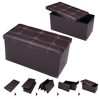 Folding Storage Ottoman 2-seater Faux Leather Bench Toy Box Foot Stools Brown