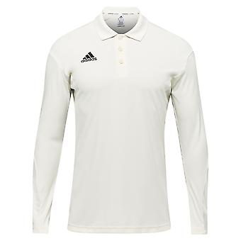 adidas Howzat Long Sleeve Mens Cricket Whites Polo Shirt Top White