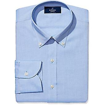 "BUTTONED DOWN Men's Slim Fit Button-Collar Non-Iron Dress Shirt (No Pocket), Blue, 17"" Neck 37"" Sleeve"