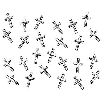 25 Silver Plastic Cross Charms for Card Making Embellishments