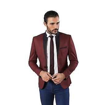 Foldable crew neck burgundy cotton blazer